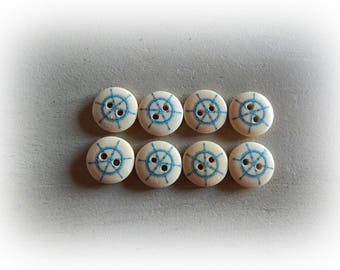 Set of 8 buttons sailor theme - blue and cream - 15 mm in diameter