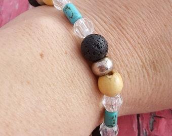 Bead Bracelet, Diffuser Bracelet, Essential Oil Bracelet, Beaded Bracelet, Stretch Bracelet, Boho Bracelet, Lava Bead Bracelet, Woman's Gift