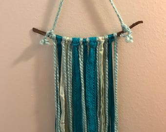 Handmade Blue Ribbon Wall Hanging