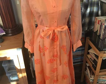 70's Alfred Shaheen Orange Scattered Rose Screen Printed Maxi Dress