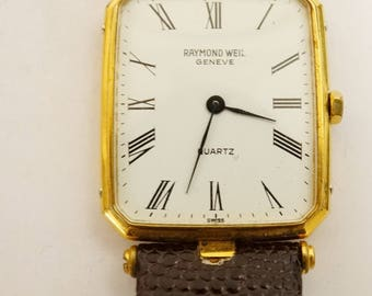 Pre Owned Reymond Weil Quartz  Mens Watch 18K Gold Electroplated
