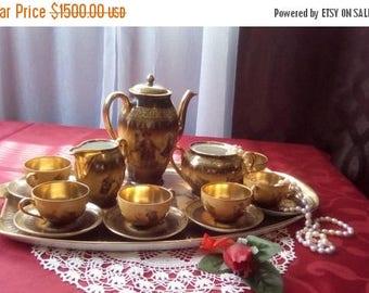 ON SALE Vintage Friedrich Simon Carlsbad Czechoslovakia  Fine Porcelain Demitasse Tea Set,  F S C Carlsbad Fine Porcelain Tea Set Gold Gilde