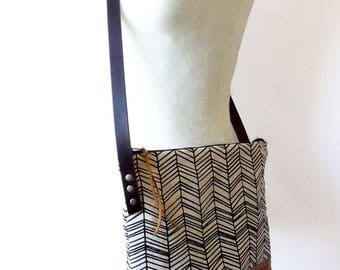 Hand Printed Crossbody With Tan Waxed Leather - Skinny Herringbone