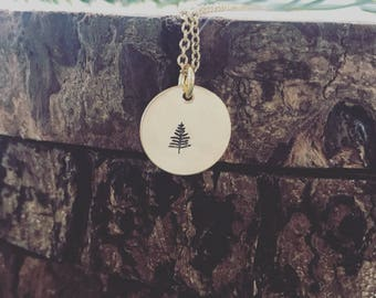 Tiny tree pendant, tree necklace, pine tree necklace, mountain necklace, outdoor jewelry, minimalist tree necklace