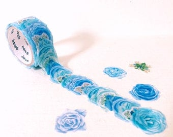 Classic blue rose washi tape