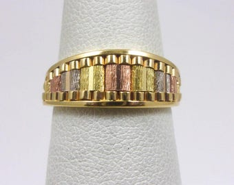 Solid 14K Yellow Gold Tri Color Tree Bark Texture Ring, Size 5, 3.1 grams