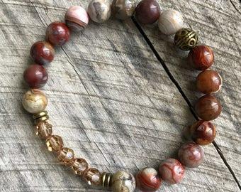 Swarovski crystal jewelry, Indian agate jewelry, handmade beaded bracelet, stackable bracelet, stretch bracelet,