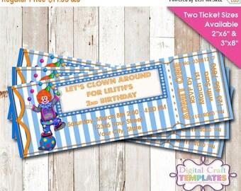 SALE Birthday Invitation, Personalized Birthday Circus, Printable Birthday Party, Ticket, #472