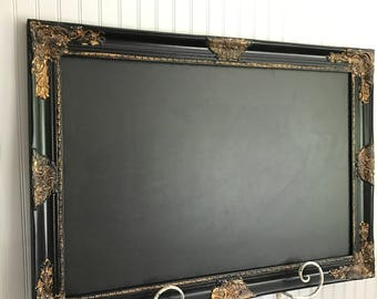 Black and Gold Frame, Chalkboard, Magnetic Chalkboard, Memo Board, Wedding Seating Chart, Childrens Room Decor