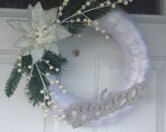 Holiday wreath.Believe. Winter. Winter Wonderland. White with sparkles. Holiday Home Decor. Front Door Wreath. White Christmassale