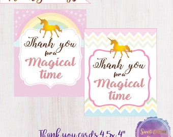 Unicorns Thank you notes/Unicorns tags/ Unicorns Cards/Unicorns Birthday/Unicorns Party/ Unicorns Party Décor,INSTANT DOWNLOAD