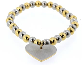 Stainless Steel Two Tone Bead Bracelet