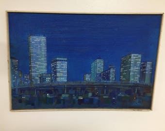 Original oil painting on canvas of Houston Texas downtown skyline