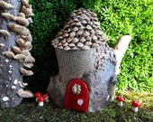Pixie Woodland Fairy House with Red Door with Acorn and Pine Cone Shingle Roof