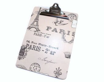 Clipboard, Decorative Clipboard, Paris Style, French Style, Eiffel Tower, Bird, Office Organization, Memo Holder, List Holder, Office Decor