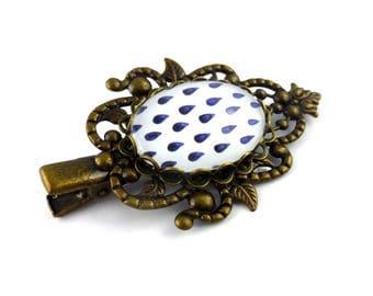 Barrette blue and white, drops, small oval cabochon hair clip