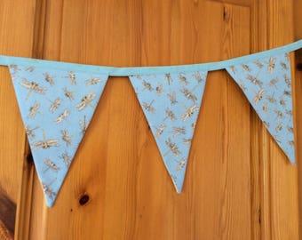 Handmade fabric bunting, dragonfly bunting, garden bunting, blue bunting,