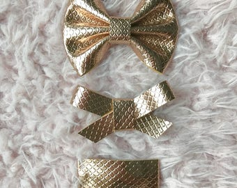 Rose Gold Mermaid hair bow or snap clip, you choose style