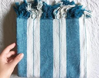 Turkish Linen Towel - Blue / green stripe