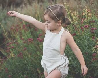 Natural Linen Romper- Baby Girl Romper- Summer Romper- Handmade Romper- Baby Shower Gift- New Baby Gift