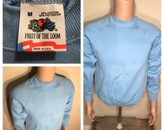 Vintage Fruit of the loom sweatshirt // blank deadstock NOS // adult size medium // light blue baby blue // 50/50 soft crewneck
