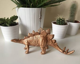 Stegosaurus dinosaur copper coloured photo memo picture wedding birthday gift table desk decor business card holder home office decoration
