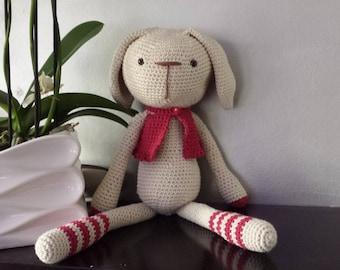 crochet plush rabbit with all cotton waistcoat
