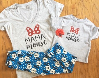 Matching Mama Mouse Minnie Mouse tee shirts women and girls baby toddler youth disney disneyland mickey vacation custom mommy personalize
