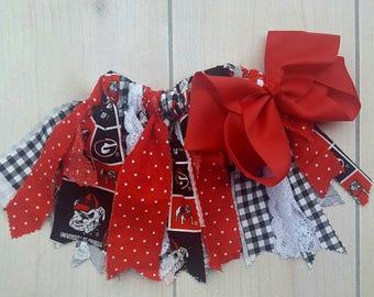Georgia theme Fabric Tutu, Girl's Scrappy Fabric Tutu, Team sports Tutu, Toddler Tutu, GA Bulldogs tutu