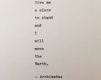 Archimedes quote hand typed on antique typewriter