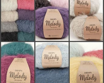 DROPS yarn Melody A luxurious mix of merino wool and brushed alpaca 71% Alpaca 25 Wool 4 Polyamide  12 ply
