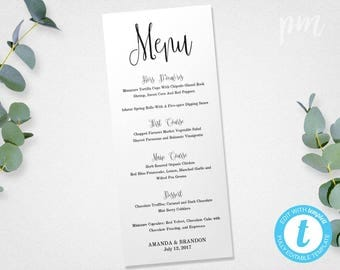 Wedding Menu Template, Printable Menu, Wedding Dinner Menu, Editable Menu Card, Instant Download, Script Menu Template