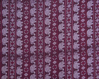 """Decorative Fabric, Elephant Print, Plum Fabric, Sewing Material, Dressmaking Fabric, 44"""" Inch Polyester Fabric By The Yard ZBP88C"""