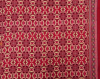 """Floral Print Cotton Crafting Fabric, Red Fabric, Dress Material, Home Decor Fabric, 45"""" Inch Fabric By The Yard ZBC8377A"""