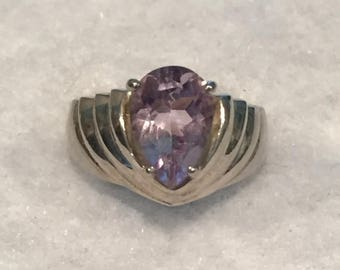 summer17 ISC Sterling Pear Shaped Amethyst Ring - Size 8 - CA 1970's - Item R110