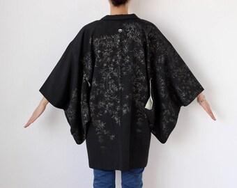 Black glitter kimono jacket, Japanese kimono, Haori, vintage black jacket, womens jacket, kimono black, Haori jacket /2025