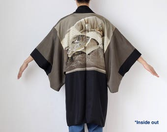 Mens silk kimono jacket, haori men, Japanese kimono men, Haori jacket, Japanese haori, black kimono jacket, mens silk jacket, kimono /2202