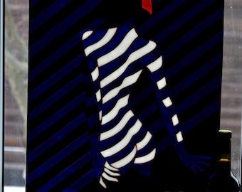 Naked girl glass panel Tiffany method. Suncatcher window pendant. Pop art. Wall hanging Glass painting Decor. Glass art Malika Favre picture