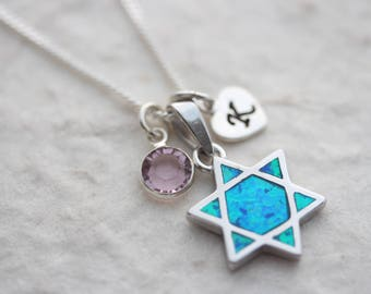 Sterling Silver Star of David Pendant necklace. Silver Shield of David necklace choose chain 2 charms, silver Blue Opal Star of David