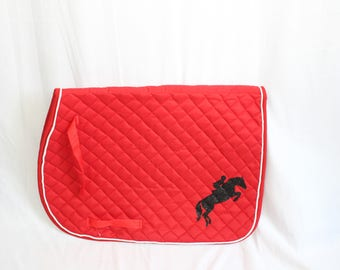 Red/White Quilted English Saddle All Purpose Pad with Black Glitter Show Jumper Horse Rider