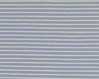 Baby Blue and White Stripe Cotton Lycra Jersey Knit Fabric