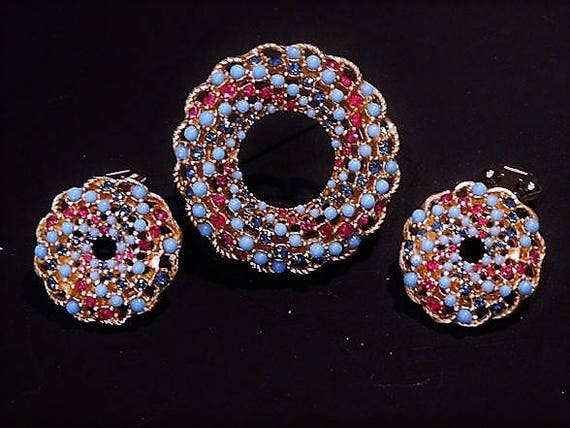 Sarah Coventry Rhinestone Brooch Clip On Earrings Mid Century 1960s 60s Demi Parure Song of India Vintage Designer Fashion Jewelry Set