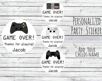 Personalized Game Gaming Controller, GAME OVER, Controller, Boy Birthday Party Favors Goodie Bag, Thank You Tags, Stickers Lables