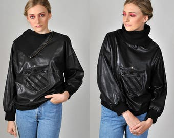 Vintage 1980's  CLAUDE MONTANA leather cowl neck pullover  H1