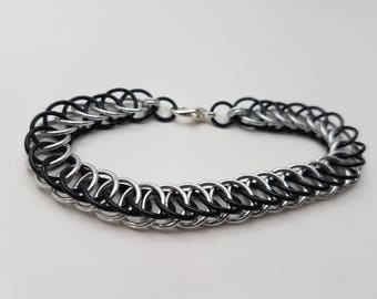 Black and Silver Persian 4 in 1 Handmade Chainmaille Bracelet