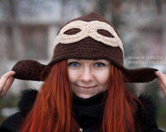 Funny hat, Pilot Hat, Pilot Cap, Brown Hat, Viking Style, Knitting Gift, Crochet Hat, Amusing hat.