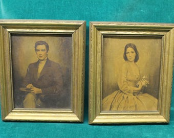 "Small Framed Print Pair ""Virginia Belle"" & ""Colonial Gentleman"" by C. Bosseron Chambers 5.5"" x 4.5"" Vintage Wall Art classic portraits"