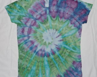 DISCOUNT! Ice Dyed Women Large Green, Blue & Purple Tie-Dye T-Shirt (Free Shipping!)