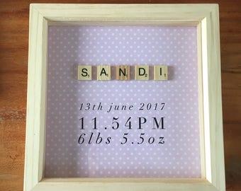 New Baby Girl Boy Scrabble Art Box Frame