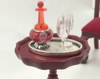 Decanter with glasses for dollhouse handmade